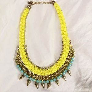 Gold spike braided statement necklace